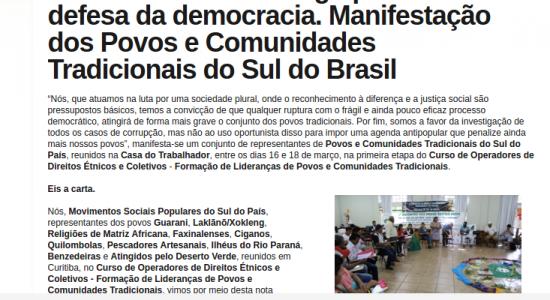 Carta Aberta contra o golpe e em defesa da democracia. Manifestação dos Povos e Comunidades Tradicionais do Sul do Brasil