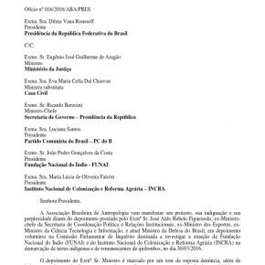 ABA Encaminha Ofício para Presidente da República Sobre Depoimento do Sr. Aldo Rebelo no dia 30-03-2016