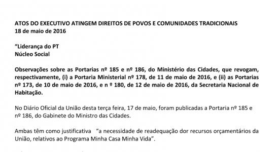 ATOS DO EXECUTIVO ATINGEM DIREITOS DE POVOS E COMUNIDADES TRADICIONAIS