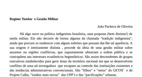 COMENTÁRIO DE JOÃO PACHECO SOBRE A PORTARIA 541, NO SITE DO INSTITUTO SOCIOAMBIENTAL (ISA) EM 18-07-2017
