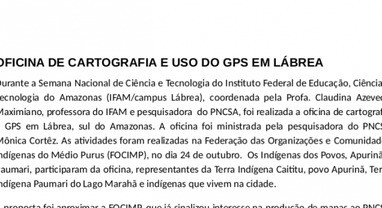 OFICINA DE CARTOGRAFIA E USO DO GPS EM LÁBREA