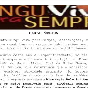 Carta Pública Movimento Xingu Vivo para Sempre