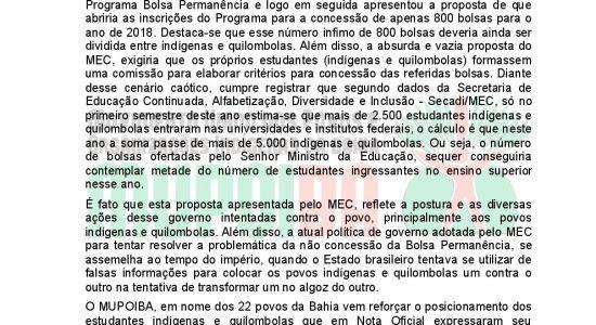 Nota de Repudio do MUPOIBA sobre a redução das bolsas permanencia para estudantes indigenas e quilombolas