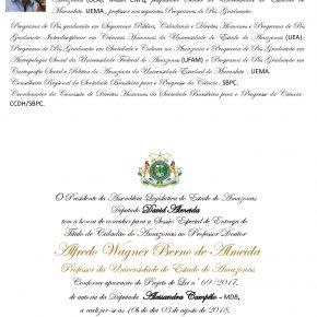 Sessão Especial de entrega do Título de Cidadão do Amazonas ao Professor Doutor ALFREDO WAGNER BERNO DE ALMEIDA