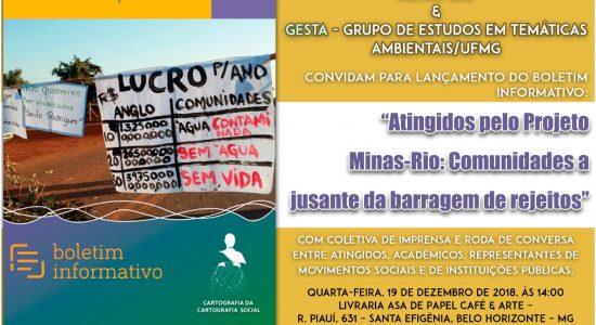 RELEASE – Lançamento do Boletim da Cartografia Social dos Atingidos pelo Projeto Minas-Rio