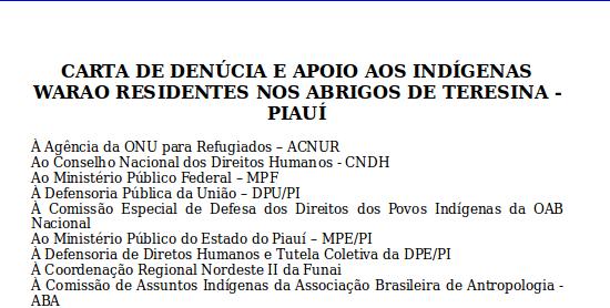 CARTA DE DENÚCIA E APOIO AOS INDÍGENAS WARAO RESIDENTES NOS ABRIGOS DE TERESINA - PIAUÍ