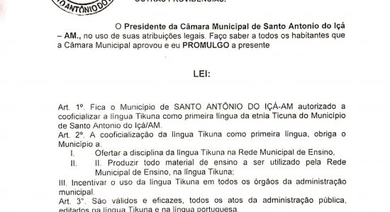 Tikuna: primeira língua do Município de Santo Antônio do Içá